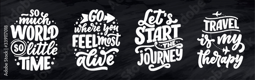 Fototapeta Set with travel life style inspiration quotes, hand drawn lettering posters