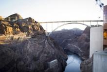 Bridge Over Colorado River Seen From Hoover Dam