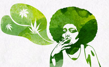 Woman's Silhouette With Afro Hairstyle Smoking Joint With Marijhuana Leaf. Vector Image