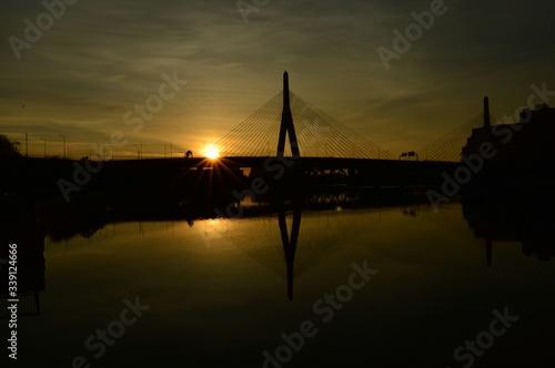 Leonard P Zakim Bunker Hill Memorial Bridge Over River At Sunset Tablou Canvas