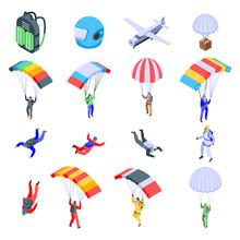 Parachuting Icons Set. Isometric Set Of Parachuting Vector Icons For Web Design Isolated On White Background