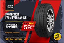 Wheel Sale. Black Friday. Advertising Poster, Brochure, Billboard, Booklet. Realistic Vector Car Tyre . Seasonal Sale Of Wheels. Web Page Design Of Car Service.