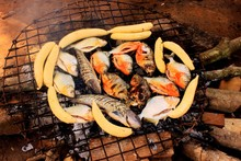 Close-up Of Fish And Sausages Being Barbecued Outdoors