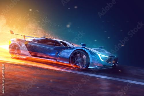 Fotografía Futuristic sports car (3D Rendering)