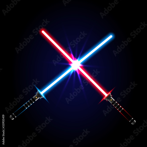 Valokuva Two crossed light swords on night sky background