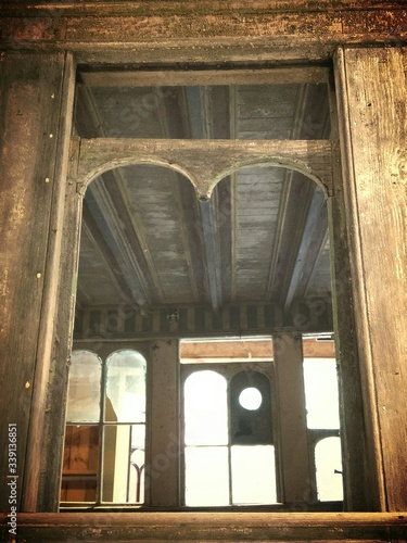 Low Angle View Of Old Wooden Boathouse Fotobehang