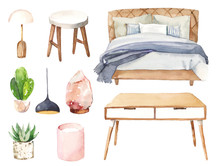 Watercolour Hand Painted Home Interior Bedroom Sleep Furniture Illustration Set On White Background