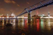 Millennium Bridge Over River At Night