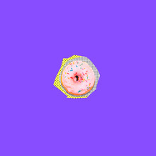Art Collage Of Cutted From Paper One Pink Donut With Sprinkle In Memphis Style On Bright Purple Background