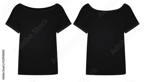 Fototapeta Black women t shirt. vector illustration obraz na płótnie