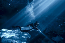 Cave Diving, Diver Underwater,...