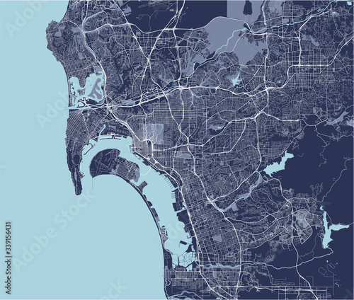 Fotografie, Obraz map of the city of San Diego, California, USA