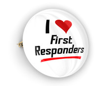I Love First Responders Button Pin Emergency Workers Police Fire Paramedics 3d Illustration