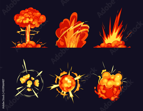 Photo Explosion bursts, fire flame bangs and booms icons