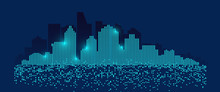 Abstract Futuristic City.A City Made Up Of Pixel Shaped Buildings.Digital Building Background.