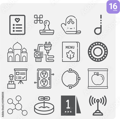 Photo Simple set of ancestry related outline icons.