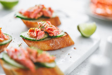 Toasts With Fresh Cucumber And...