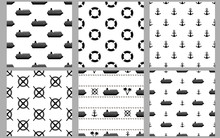 Marine Seamless Patterns. Blac...