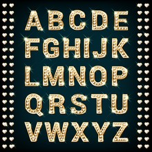 Gold Alphabet With Heart Shape...