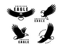 Set Of Logos. American Eagle In Flight. Vector Illustration.
