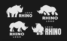 African Rhino Silhouette. Set ...