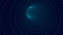Wireframe Vector Tunnel. 3d Wormhole Illustration.