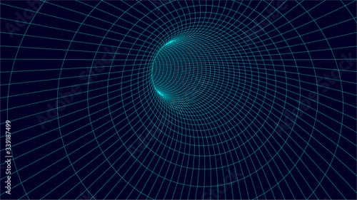 Wireframe vector tunnel. 3d wormhole illustration. Wallpaper Mural