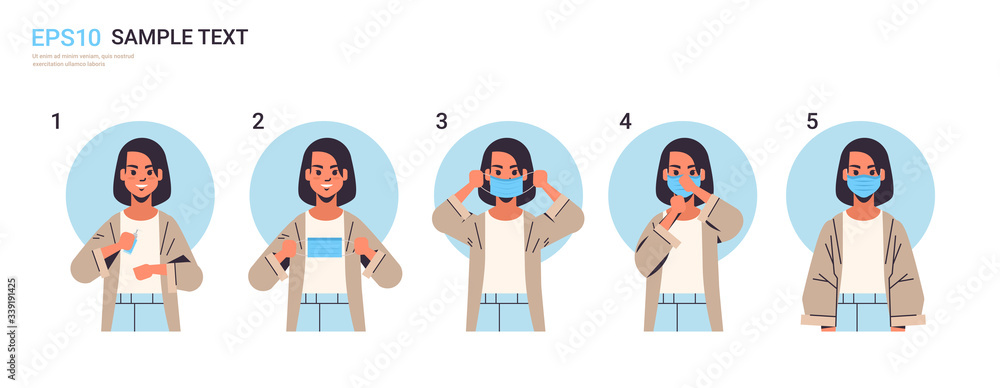 Fototapeta how to wear medical face mask covid-19 protection woman presenting step by step correct method of wearing mask to reduce coronavirus spreading horizontal portrait vector illustration