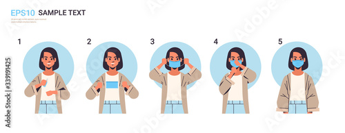 how to wear medical face mask covid-19 protection woman presenting step by step Poster Mural XXL