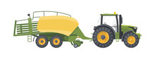 Tractor Set. Vector Flat Illustarion. Agriculture Machine With Baler
