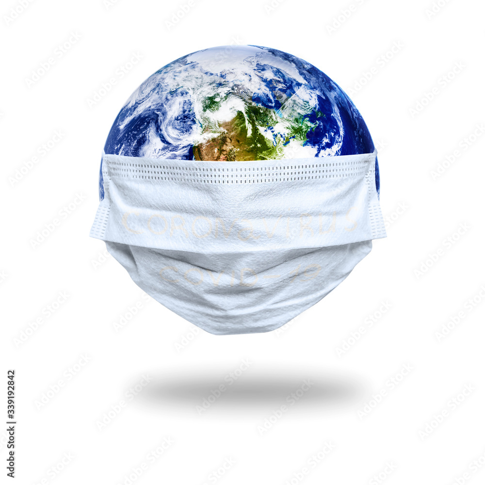 Fototapeta The whole earth is quarantined, the earth is wearing a maskCoronavirus and Air pollution pm2.5 concept. COVID-19