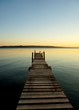 High Angle View Of Pier On Lake Against Sky During Sunset