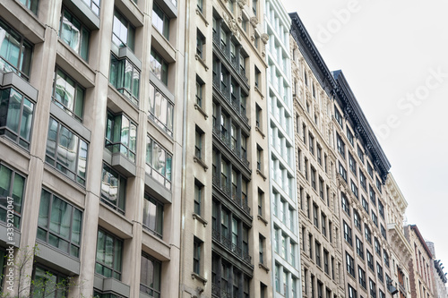 Photo Row of Old and Modern Buildings in the Flatiron District of New York City