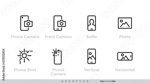 Phone Camera, Front and Back Lens icon set Poster Mural XXL