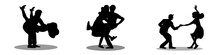 Set Dancing Couples Silhouettes On White Background. People In 1940s Or 1950s Style. Men And Women On Swing, Jazz, Lindy Hop Or Boogie Woogie Party. Vector Illustration.