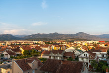 August 2019. The View Of Podgorica, The Capital City Of Montenegro During The Sunset Time.