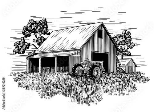 Fototapeta Old Farm Tractor and Barn