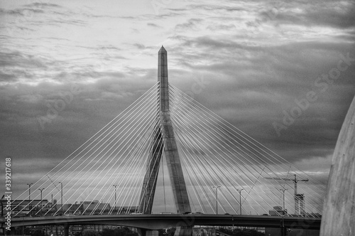 Leonard P Zakim Bunker Hill Bridge Against Sky At Dusk Wallpaper Mural