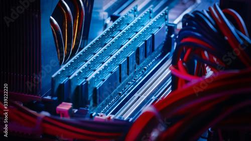 Fototapeta Close-up Macro Shot of Installed RAM Memory in Computer Motherboard Slot
