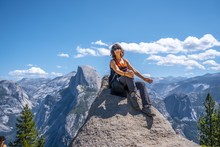 Woman Hiking In The Yosemite N...