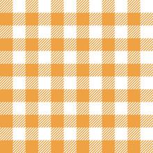 Seamless Gingham Check Plaid Pattern Orange White