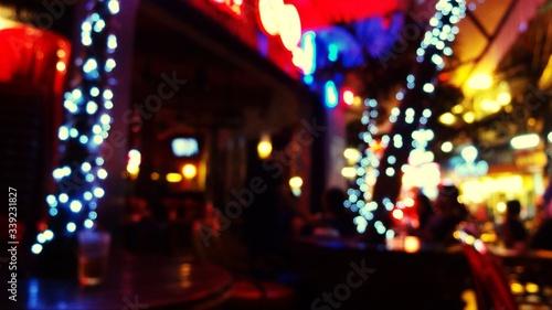 Photo Defocused Image Of Illuminated Bar At Restaurant