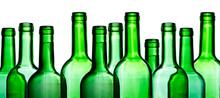 Green Wine Bottle. Empty Glass...