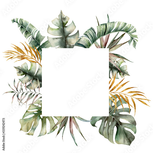 Watercolor tropical frame with green, gold palm and monstera leaves Canvas Print