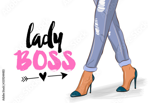 Fototapeta Lady boss - Hand drawn beautiful young woman high heels and jeans