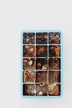 Ice Cubes Made With Coffee In Blue Ice Cube Tray To Prepare Refreshing Coffee Drinks Like Iced Coffee. White Background, View From Above, Isolated.