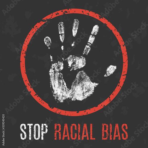 Photo Vector. Social problems of humanity. Stop racial bias.