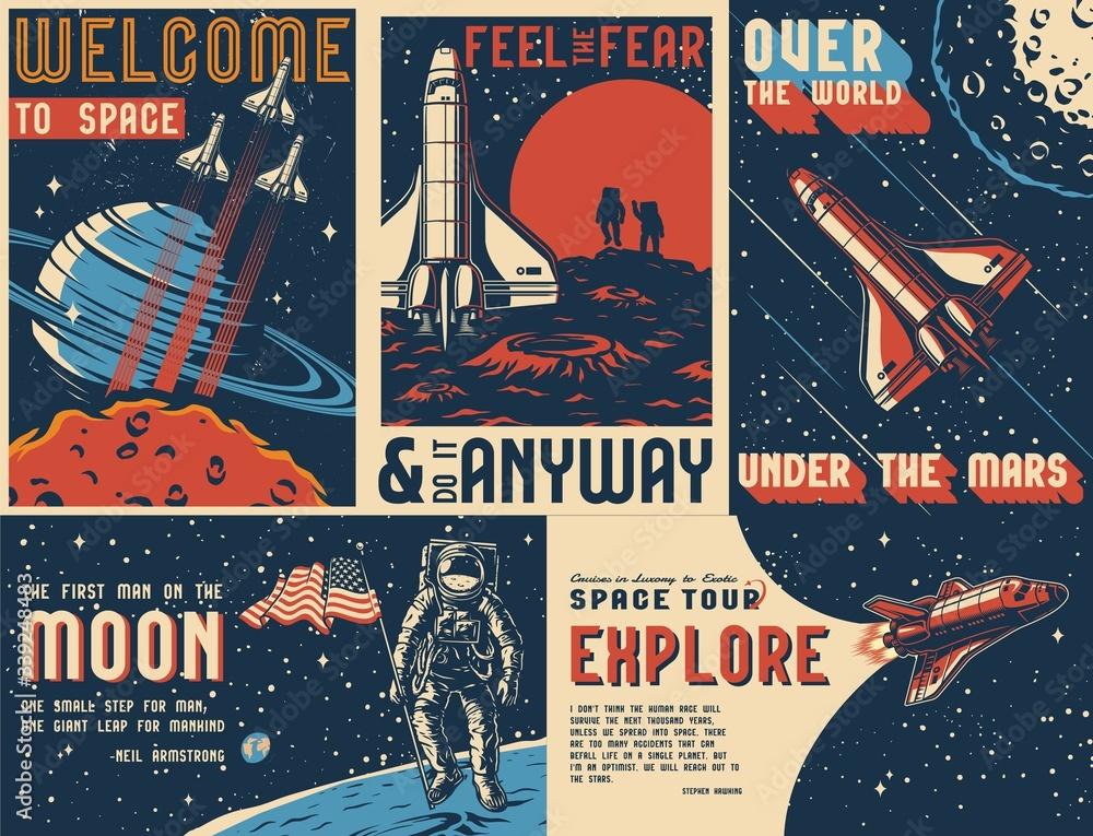 Fototapeta Space exploration vintage colorful posters