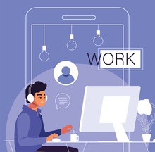Man Freelancer Working From He...