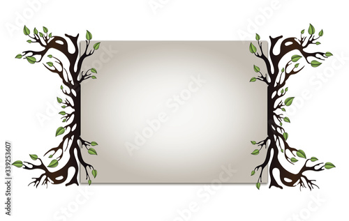 Paper board with frame with tree with leaves and roots, blank horizontal Canvas Print